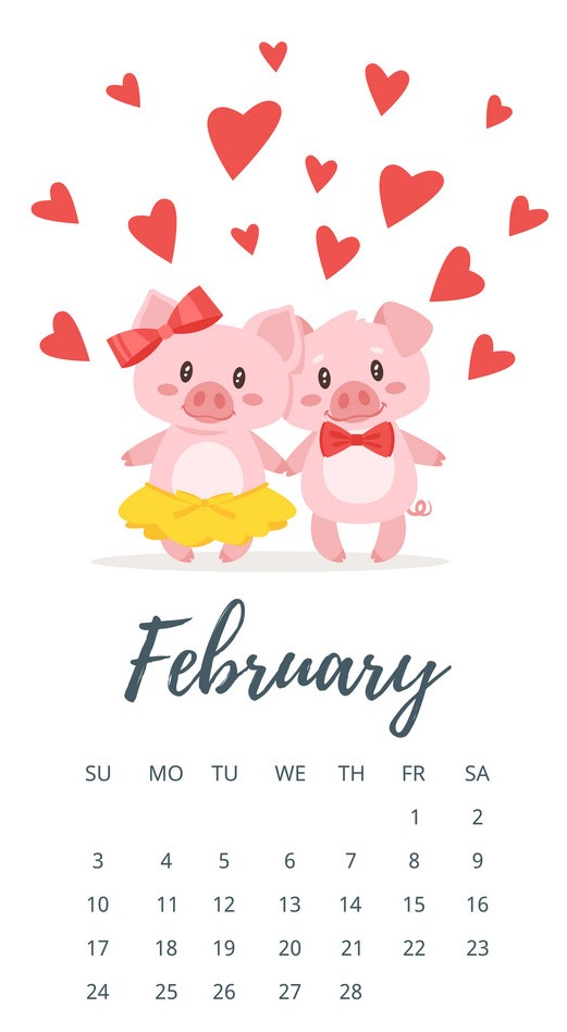 February 2019 year calendar page