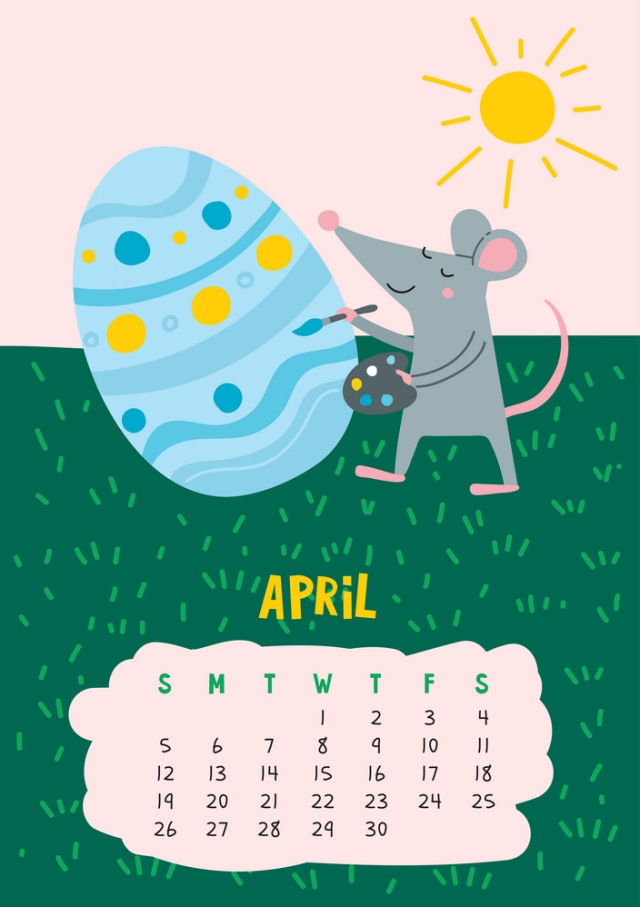 April. Vector calendar page with cute rat decorate easter egg